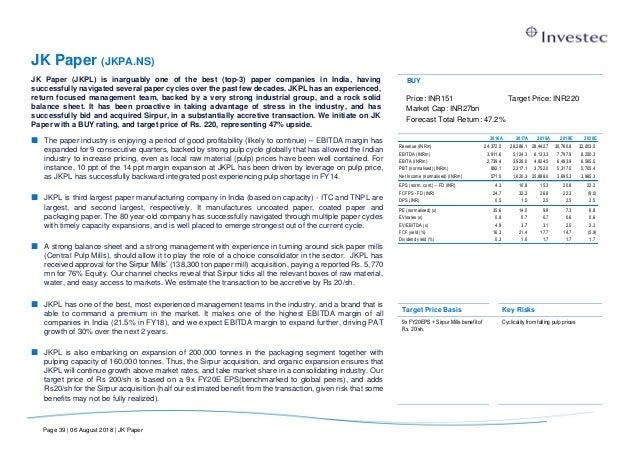 INVESTEC - PAPER INDUSTRY REPORT