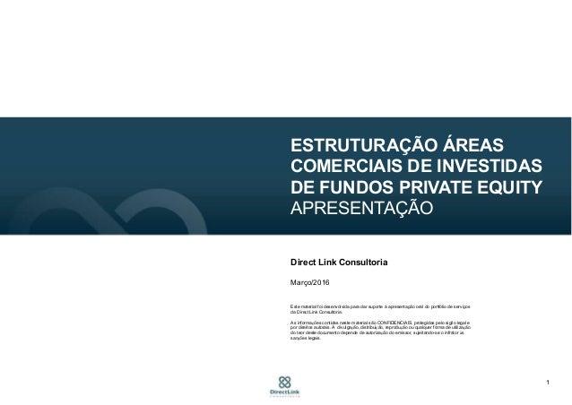1 ESTRUTURAÇÃO ÁREAS COMERCIAIS DE INVESTIDAS DE FUNDOS PRIVATE EQUITY APRESENTAÇÃO Direct Link Consultoria Março/2016 Est...