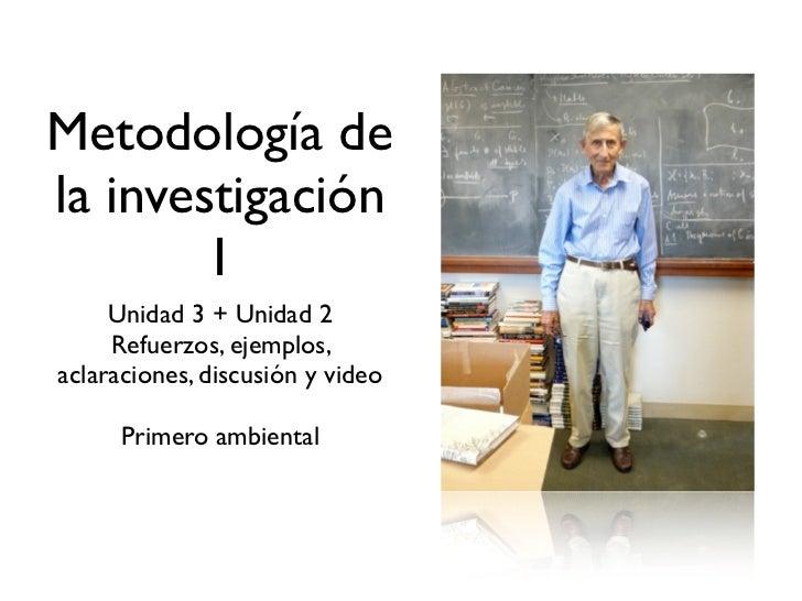 Metodología dela investigación        1     Unidad 3 + Unidad 2     Refuerzos, ejemplos,aclaraciones, discusión y video   ...