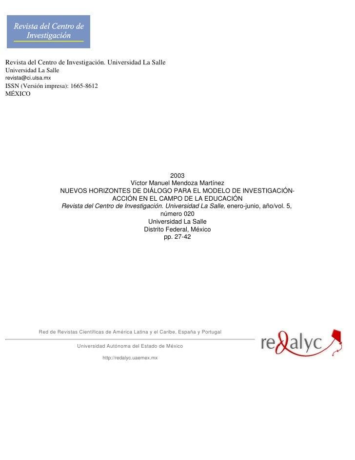 Revista del Centro de Investigación. Universidad La SalleUniversidad La Sallerevista@ci.ulsa.mxISSN (Versión impresa): 166...