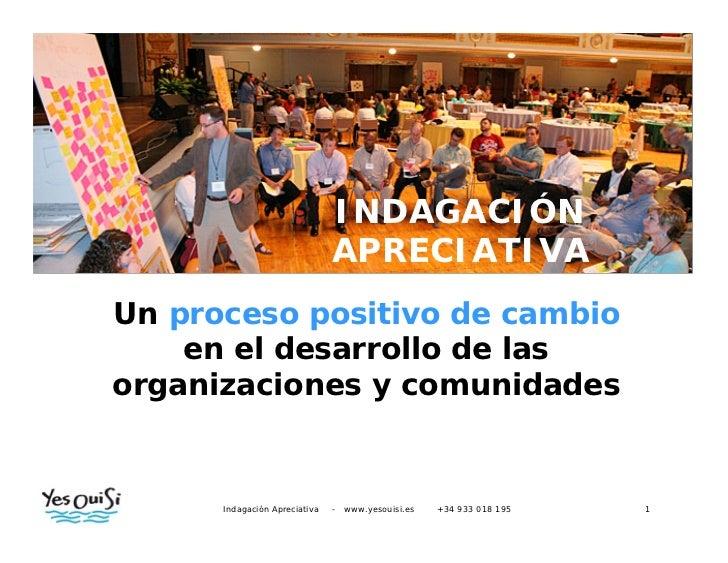 INVESTIGACIÓN                         APRECIATIVAUn proceso positivo de cambio    en el desarrollo de lasorganizaciones y ...