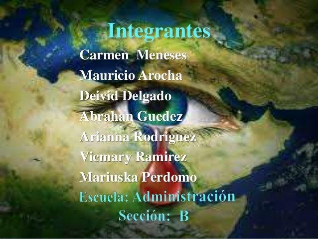 Integrantes Carmen Meneses Mauricio Arocha Deivid Delgado Abrahan Guedez Arianna Rodriguez Vicmary Ramirez Mariuska Perdomo