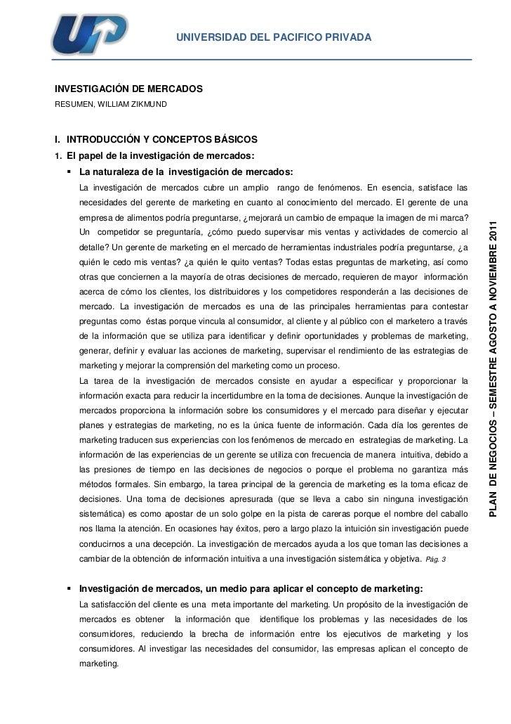 UNIVERSIDAD DEL PACIFICO PRIVADA  INVESTIGACIÓN DE MERCADOS  RESUMEN, WILLIAM ZIKMUND  I. INTRODUCCIÓN Y CONCEPTOS BÁSICOS...