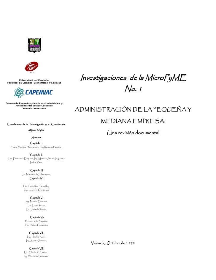 Universidad de Carabobo                                                           Investigaciones de la MicroPyME  Faculta...