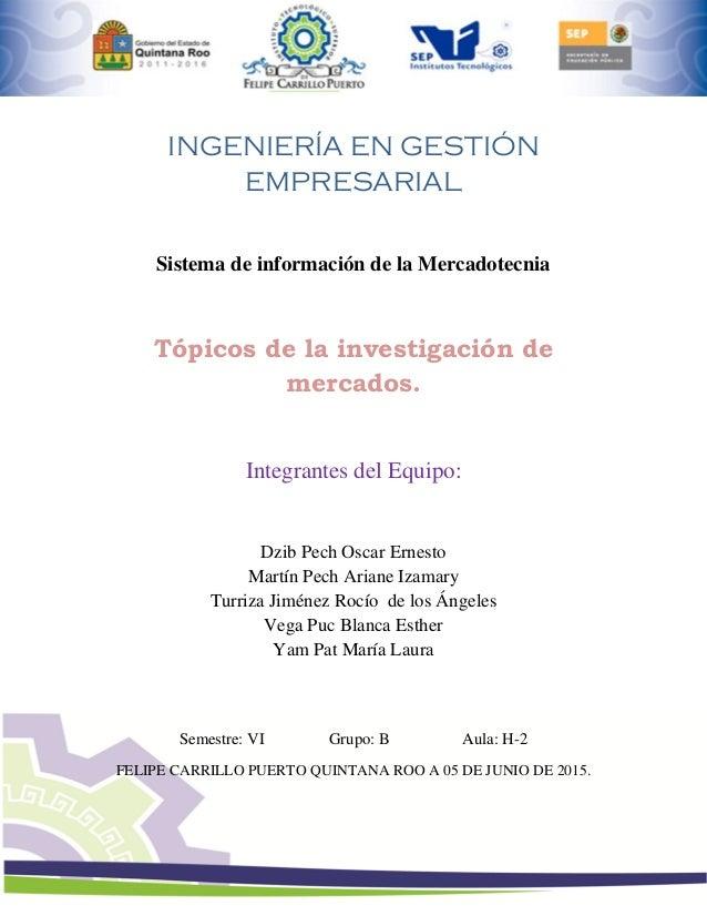 Sistemas de información de la mercadotecnia. Página 1 INGENIERÍA EN GESTIÓN EMPRESARIAL Sistema de información de la Merca...