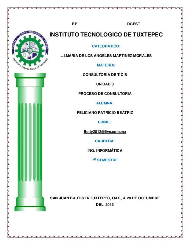 EP  DGEST  INSTITUTO TECNOLOGICO DE TUXTEPEC CATEDRÁTICO: L.I.MARÍA DE LOS ANGELES MARTINEZ MORALES MATERÍA: CONSULTORÍA D...