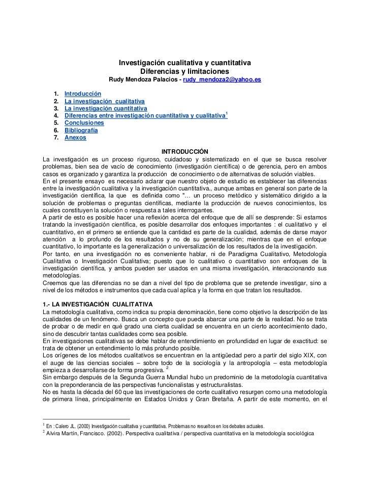 Investigación cualitativa y cuantitativa                                        Diferencias y limitaciones                ...