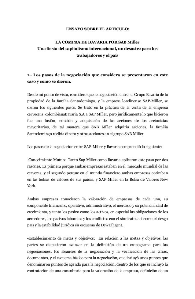 ENSAYO SOBRE EL ARTICULO:                 LA COMPRA DE BAVARIA POR SAB Miller        Una fiesta del capitalismo internacio...