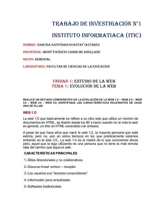 TRABAJO DE INVESTIGACIÓN N°1 INSTITUTO INFORMATIACA (ITIC) NOMBRE: NARCISA NATIVIDAD GUASTAY OLIVARES PREOFESOR: JHONY PAT...