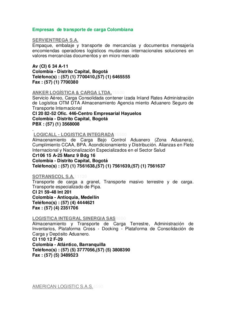 Empresas  de transporte de carga Colombiana <br />SERVIENTREGA S.A.<br />Empaque, embalaje y transporte de mercancías y do...