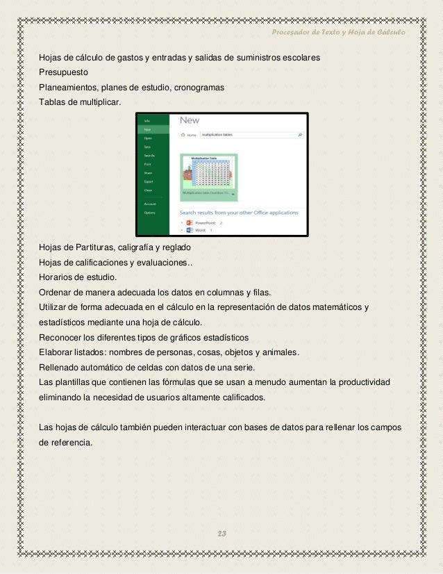 Investigacion Uso Educativo del Procesador de Textos y Hoja de Calculo