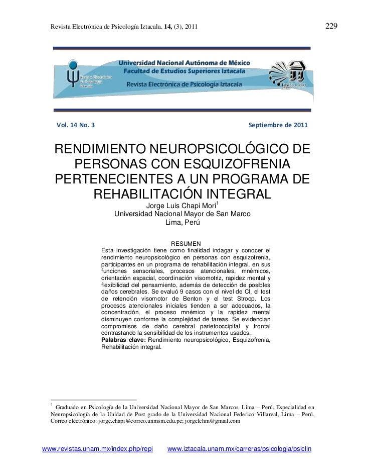 Revista Electrónica de Psicología Iztacala. 14, (3), 2011                                              229      Vol. 14 No...