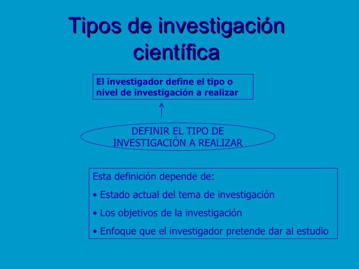 Tipos de investigación científica DEFINIR EL TIPO DE INVESTIGACIÓN A REALIZAR El investigador define el tipo o  nivel de i...