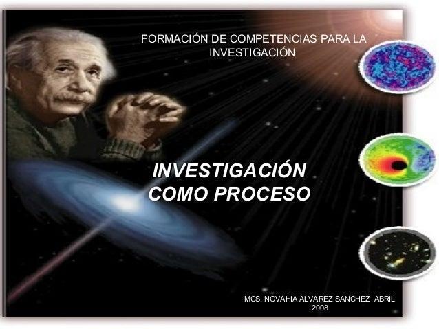 FORMACIÓN DE COMPETENCIAS PARA LA INVESTIGACIÓN INVESTIGACIÓNINVESTIGACIÓN COMO PROCESOCOMO PROCESO MCS. NOVAHIA ALVAREZ S...