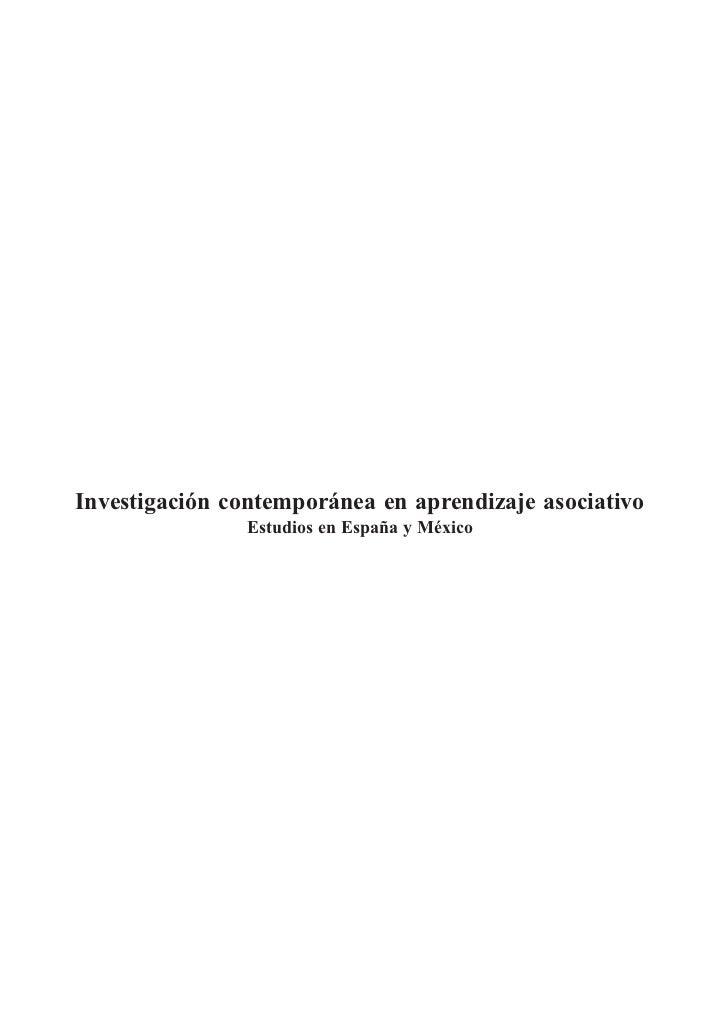 Investigación contemporánea en aprendizaje asociativo               Estudios en España y México