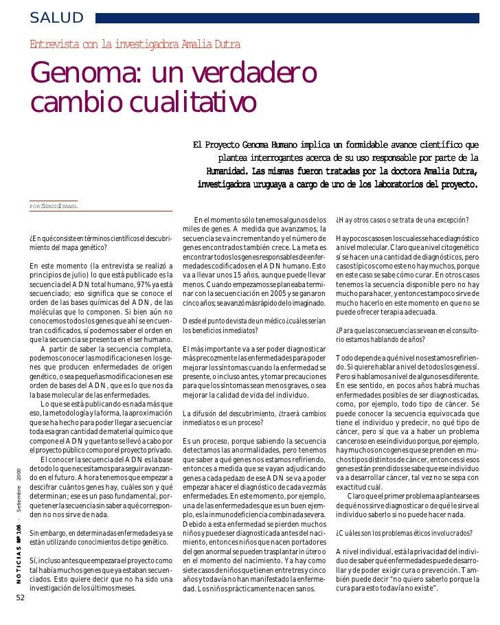 SALUD                           Entrevista con la investigadora Amalia Dutra                           Genoma: un verdader...