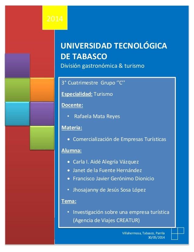 UNIVERSIDAD TECNOLÓGICA DE TABASCO División gastronómica & turismo 2014 Villahermosa, Tabasco, Parrila 30/05/2014 3° Cuatr...