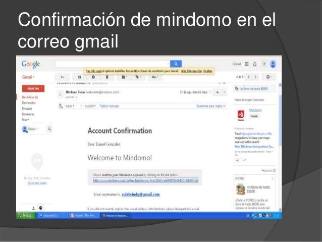 Confirmación de mindomo en el correo gmail