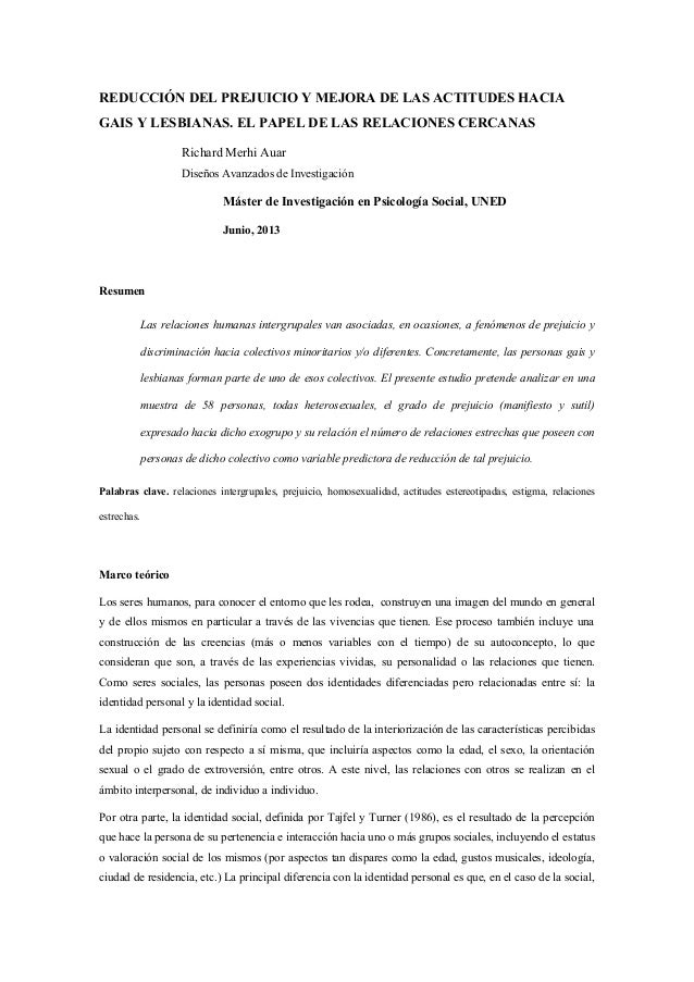 REDUCCIÓN DEL PREJUICIO Y MEJORA DE LAS ACTITUDES HACIA GAIS Y LESBIANAS. EL PAPEL DE LAS RELACIONES CERCANAS Richard Merh...