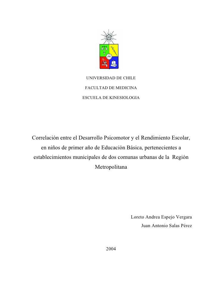 UNIVERSIDAD DE CHILE                        FACULTAD DE MEDICINA                       ESCUELA DE KINESIOLOGIA     Correla...