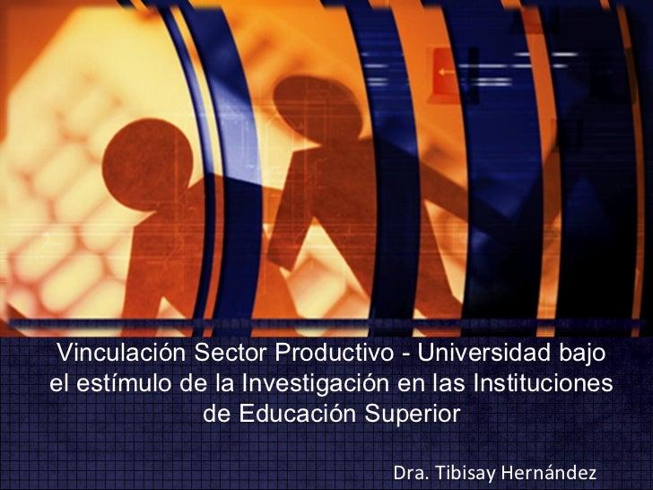 Vinculación Sector Productivo - Universidad bajo el estímulo de la Investigación en las Instituciones de Educación Superio...