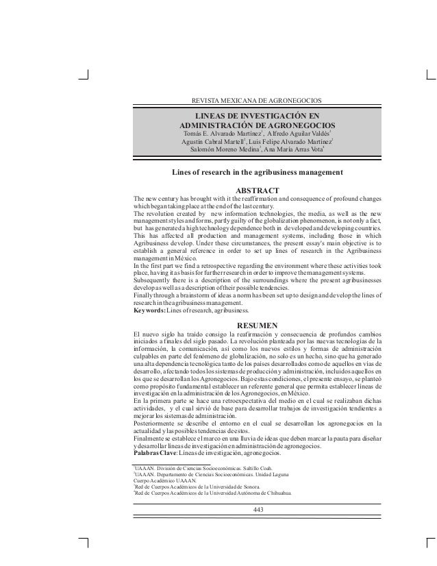 REVISTA MEXICANA DE AGRONEGOCIOS  LINEAS DE INVESTIGACIÓN EN ADMINISTRACIÓN DE AGRONEGOCIOS Tomás E. Alvarado Martínez1, A...