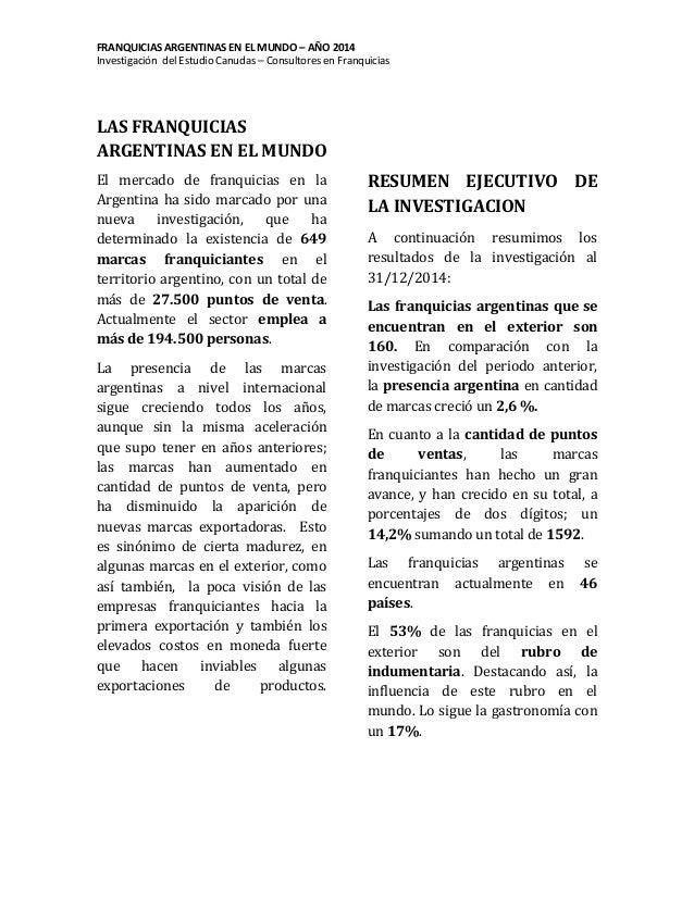 Franquicias Argentinas en el Mundo- Investigación anual