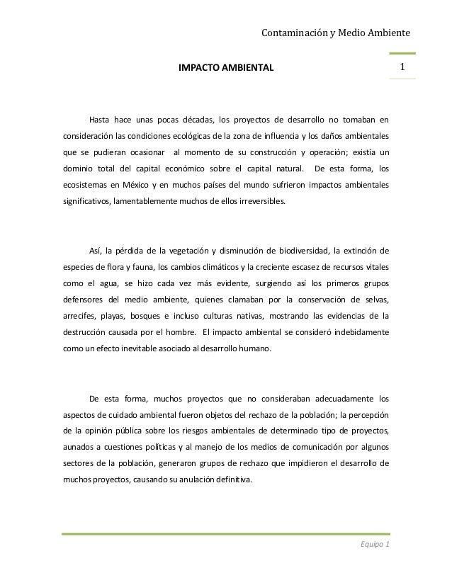 Contaminación y Medio Ambiente                                IMPACTO AMBIENTAL                                           ...