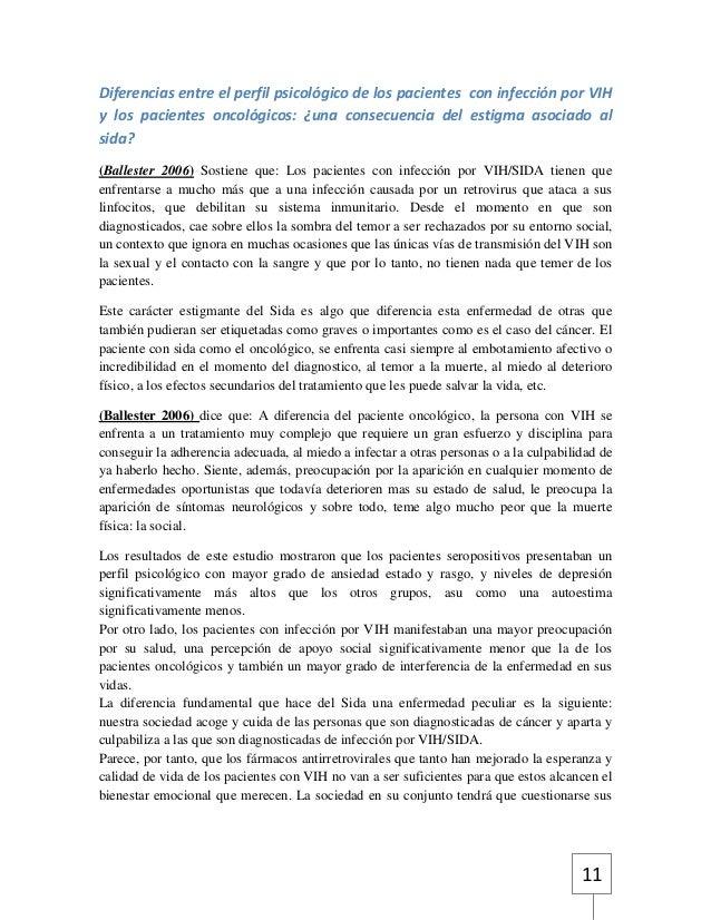 Diferencias entre el perfil psicológico de los pacientes con infección por VIH  y los pacientes oncológicos: ¿una consecue...