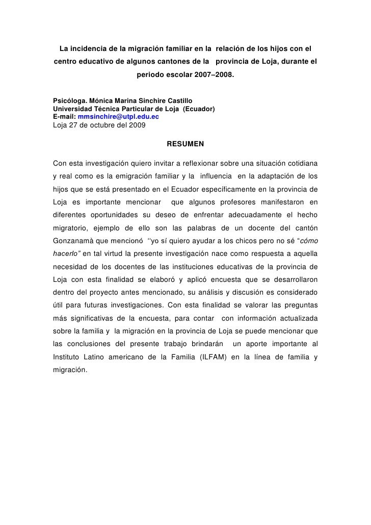 La incidencia de la migración familiar en la relación de los hijos con el centro educativo de algunos cantones de la provi...