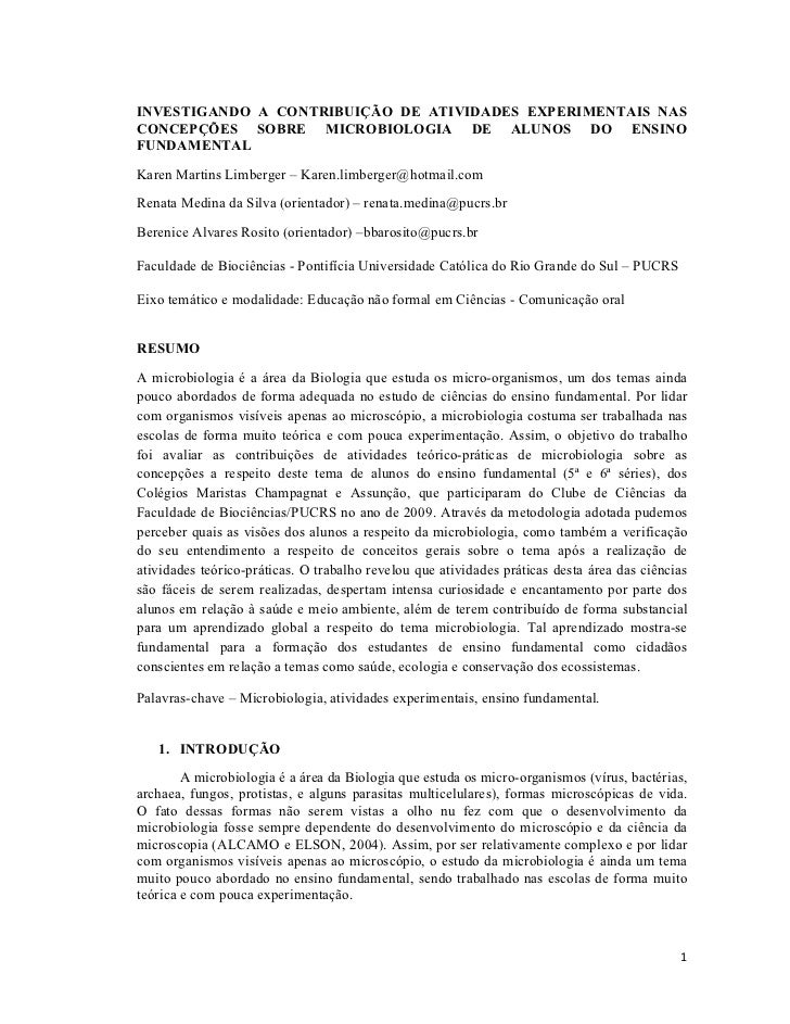 INVESTIGANDO A CONTRIBUIÇÃO DE ATIVIDADES EXPERIMENTAIS NASCONCEPÇÕES SOBRE MICROBIOLOGIA DE ALUNOS DO ENSINOFUNDAMENTALKa...