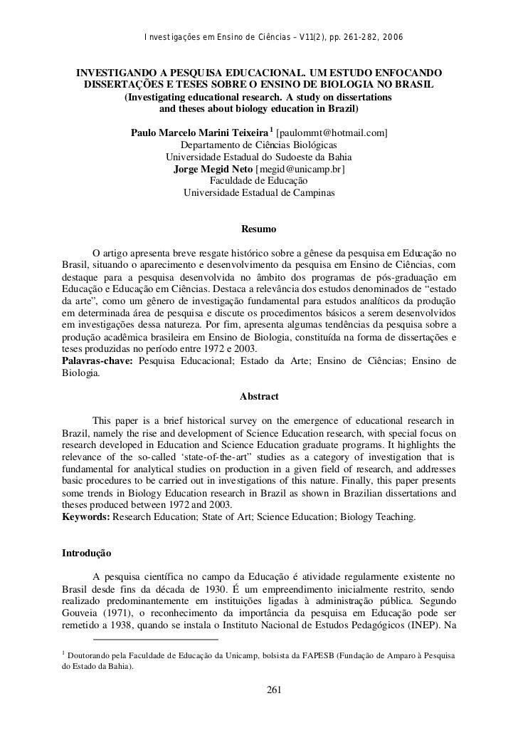 Investigações em Ensino de Ciências – V11(2), pp. 261-282, 2006    INVESTIGANDO A PESQUISA EDUCACIONAL. UM ESTUDO ENFOCAND...