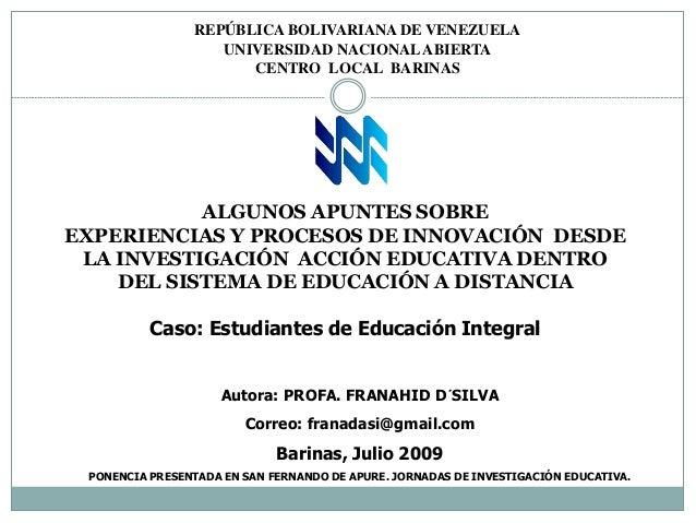 REPÚBLICA BOLIVARIANA DE VENEZUELA                   UNIVERSIDAD NACIONAL ABIERTA                      CENTRO LOCAL BARINA...