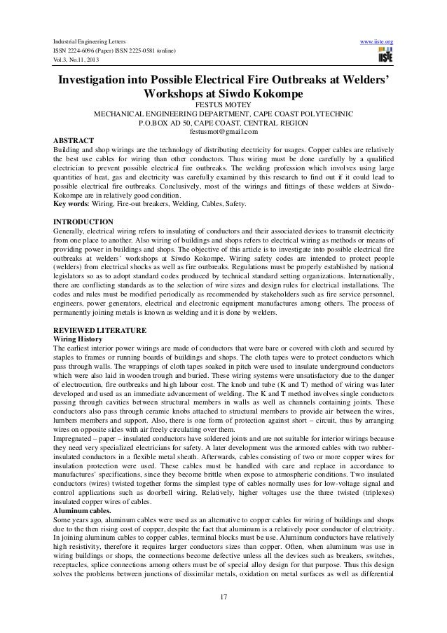 Industrial Engineering Letters ISSN 2224-6096 (Paper) ISSN 2225-0581 (online) Vol.3, No.11, 2013  www.iiste.org  Investiga...