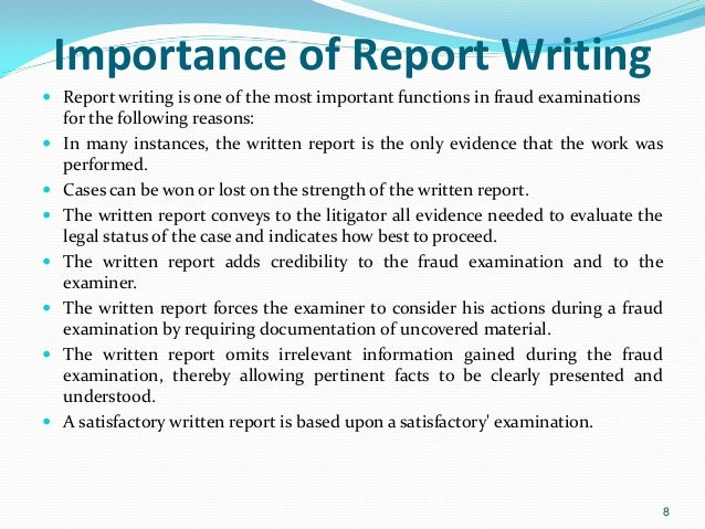 Forensic/Investigation report writing techniques