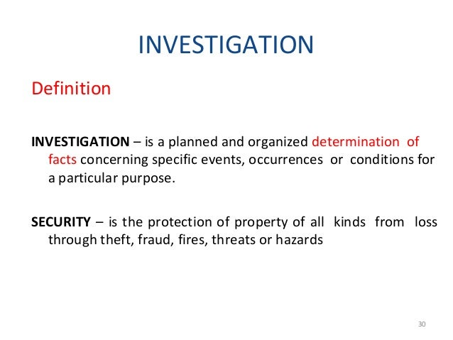 In the industrial security setting, the usual activities of an investigator falls generally into the following categories:...