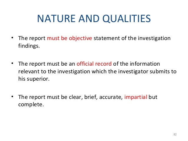 2. Synopsis - brief in description of the actions of the perpetrator as established in the body of the report. 3. Details ...