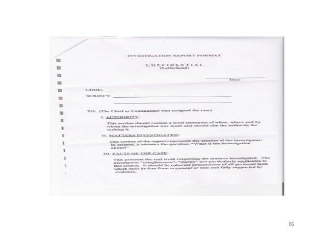 Investigation & report writing