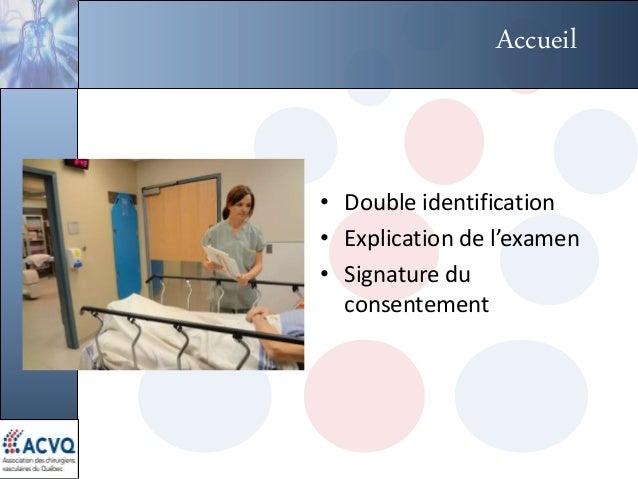 Accueil • Double identification • Explication de l'examen • Signature du consentement