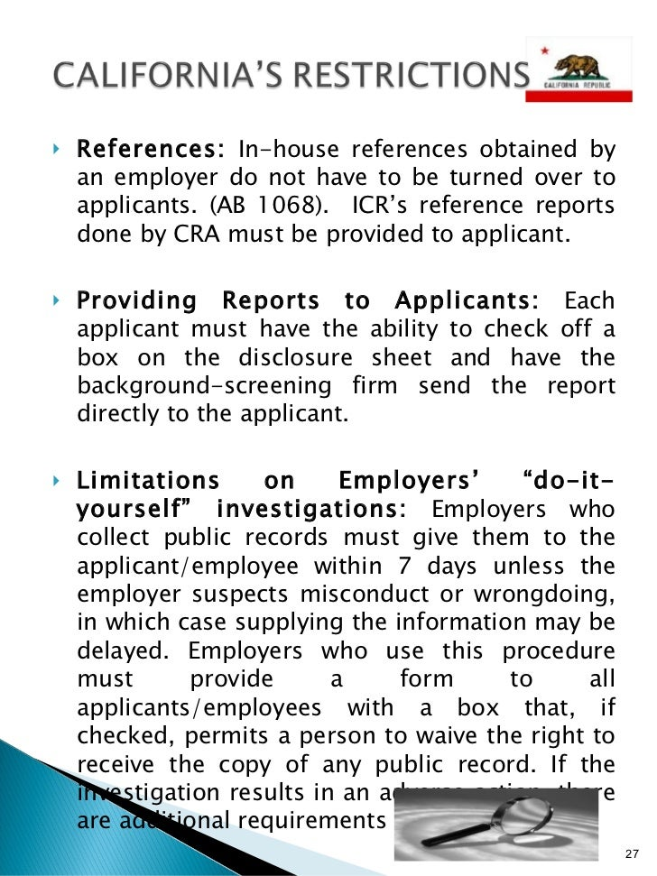 Investigative Consumer Report Presentation Jun 09 07 Version