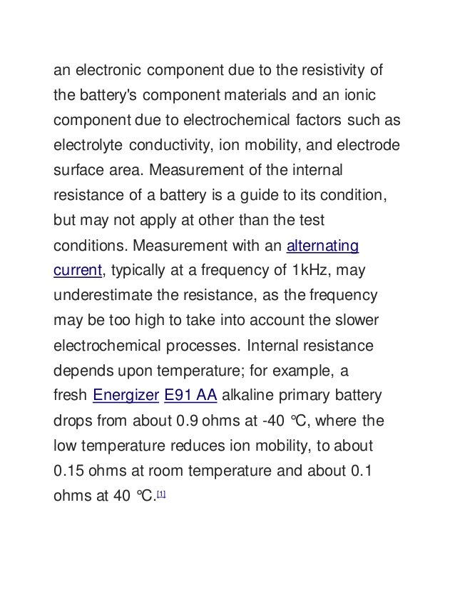 factors affecting internal resistance of a cell wikipedia