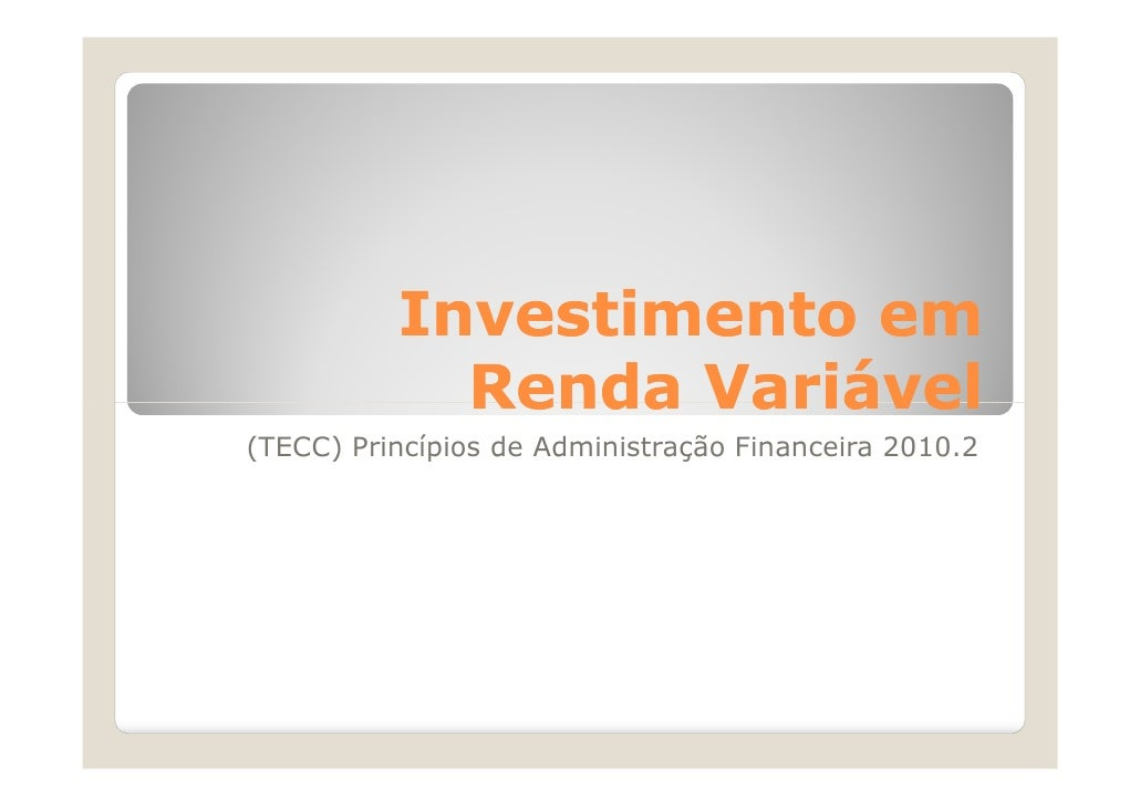 (Investimento em renda variável)