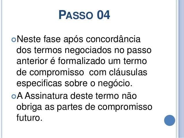 PASSO 04 Neste fase após concordância dos termos negociados no passo anterior é formalizado um termo de compromisso com c...