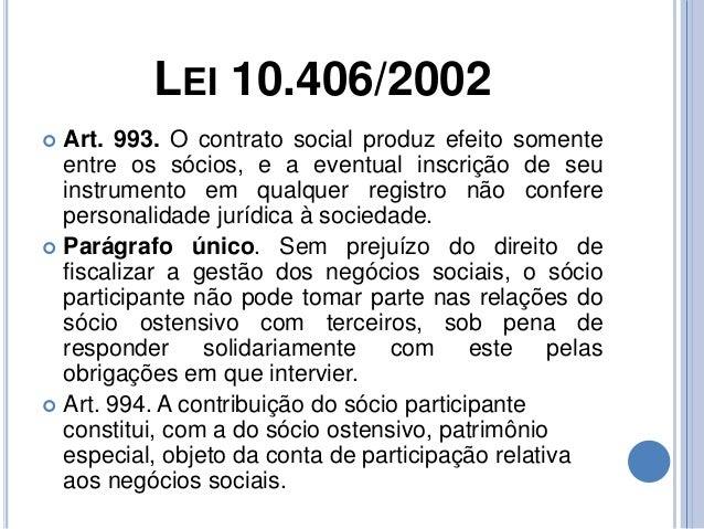 LEI 10.406/2002  Art. 993. O contrato social produz efeito somente entre os sócios, e a eventual inscrição de seu instrum...