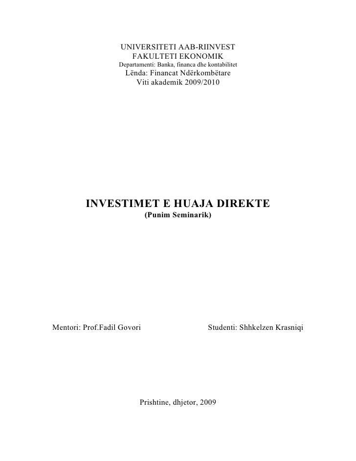 UNIVERSITETI AAB-RIINVEST                       FAKULTETI EKONOMIK                    Departamenti: Banka, financa dhe kon...