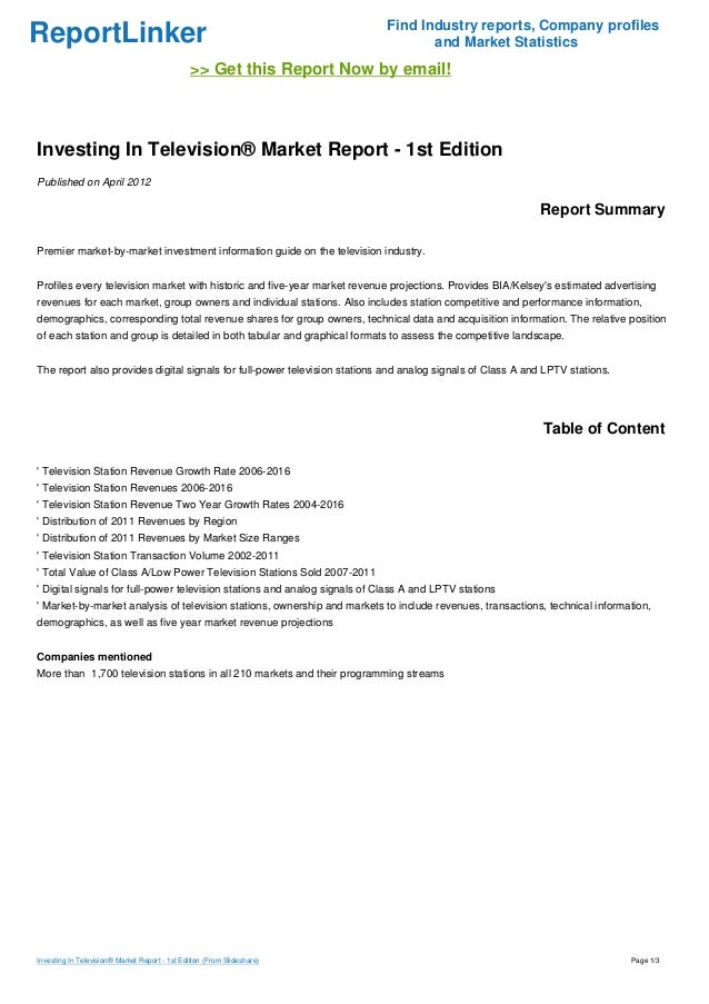 ReportLinker Find Industry reports, Company profiles and Market Statistics >> Get this Report Now by email! Investing In T...