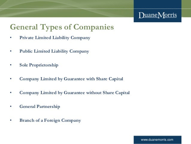 www.duanemorris.com General Types of Companies • Private Limited Liability Company • Public Limited Liability Company • So...