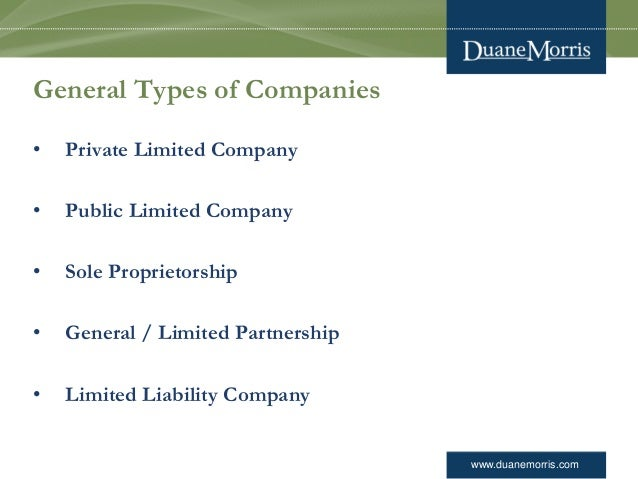 www.duanemorris.com General Types of Companies • Private Limited Company • Public Limited Company • Sole Proprietorship • ...