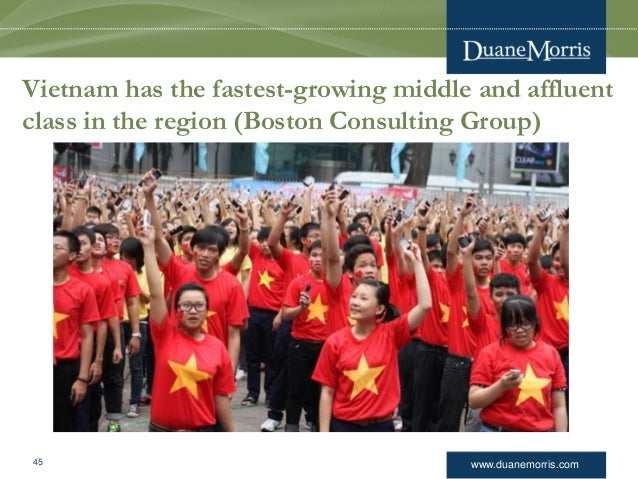 www.duanemorris.com Vietnam has the fastest-growing middle and affluent class in the region (Boston Consulting Group) 45