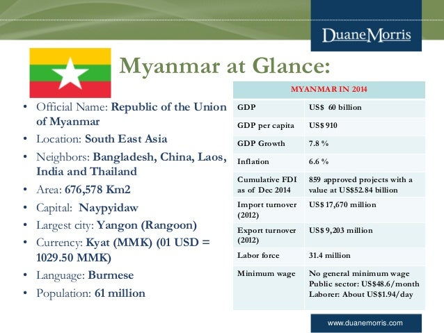 www.duanemorris.com Myanmar at Glance: • Official Name: Republic of the Union of Myanmar • Location: South East Asia • Nei...